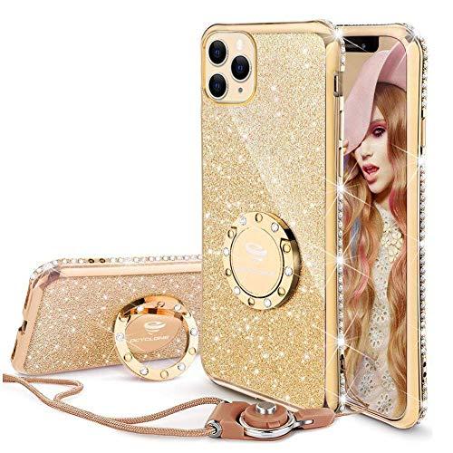 OCYCLONE Hülle Kompatibel mit iPhone 11 Pro Max, Glitzer Diamant Handyhülle mit Ring Ständer Schutzhülle für Mädchen Frauen, Glitzer iPhone 11 Pro Max Handyhülle 6,5 Zoll - Gold