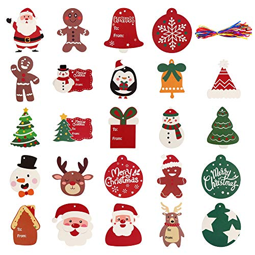 CCINEE 120PCS Christmas Tags Xmas Paper Tags with Ribbon Santa Claus Tree Label for Package Wrapping DIY Crafts