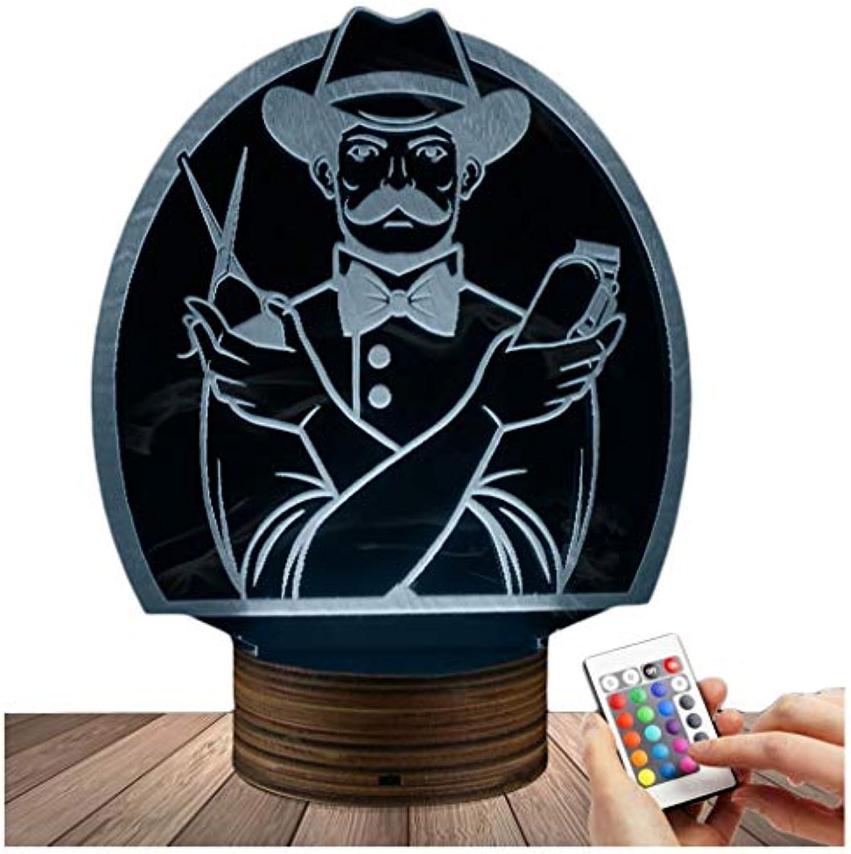 ZHJXQD 3D dekoratives Nachtlicht Barber 3D LED-Lampe Nachtlicht Optische Tuschung, USB-gesteuerte Fernbedienung ndert die Farbe des Lichts, Kinderfreunde und Familien Emotionales N