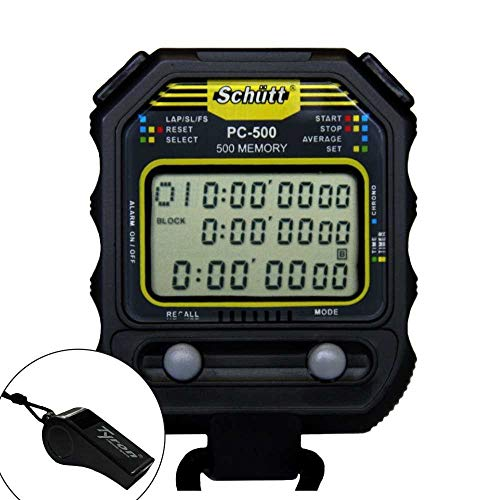 Kombiangebot SCHÜTT Stoppuhr PC-500 mit Trillerpfeife (500 Memory   Uhrzeit   Dualtimer) - Digital Profi Stoppuhr mit Druckpunktmechanik   spritzwasserfest
