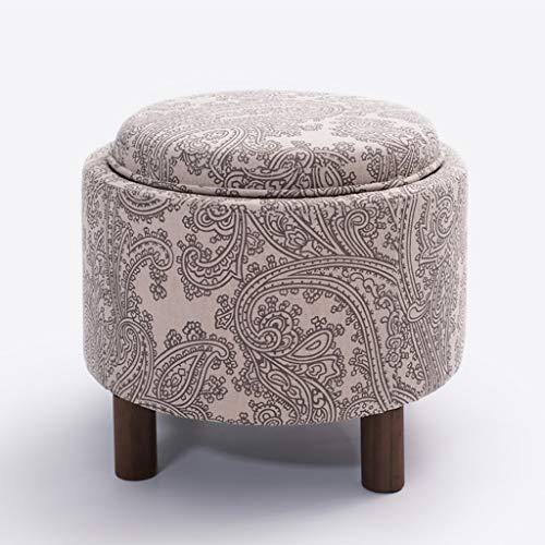 Tpys-H linnen opbergkruk Ottomaanse ronde opbergdoos enkele stoel met massief houten poten, afneembaar deksel