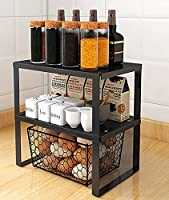 YunNasi 台所収納 積み重ね棚 キッチン収納ラック 食器棚収納ラック 鍋置き 調味料収納ラック シンク下 収納 小物収納ラック 多機能 卓上 収納 整理 省スペース 組立簡単 二段 一段 (Mサイズ,2個)