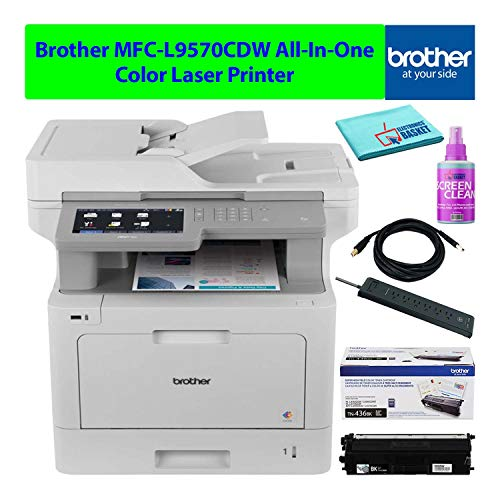 Brother MFC-L9570CDW All-in-One AIO Multifunction Wireless Color Laser Printer with Auto-Duplex Best-Value Bundle - Includes - Essential Cleaning Kit + Extra Toner