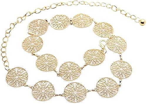 Cadena de la cintura, cinturón de cadena de moda para mujer anillo de metal tallado vintage cadena de vida de oro plata de hebilla ajustable de plata para el vestido de la correa de cadena larga del c