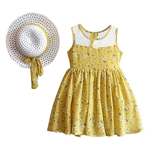 Keepwin Vestido Niña, Encaje Floral Conjunto Niña Ropa Bebe Niña Recien Nacido Verano Barata y Guapa Vestidos Ninas Fiesta Disfraz Princesa Niña Vestir Infantil Bautizo + Sombrero de Sol Paja