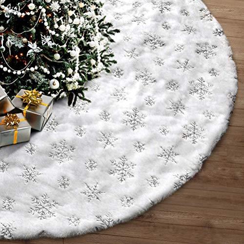 Dricar Weihnachtsbaumrock, Weihnachtsweißer Schneeflockenbaumrock Weihnachtsschmuck Weihnachts Pailletten Baum Rock 48 Zoll Großer weißer Baumrock für Weihnachtsdekorationen Feiertag Indoor Outdoor