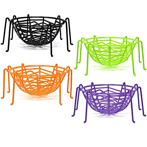 Halloween Spider Web Legs Candy Bowl Basket Party Favor Supplies Table Decorations, Set of 4 Trick or Treat Plastic Goodie Dish Holder Orange Black Purple Green by Gift Boutique