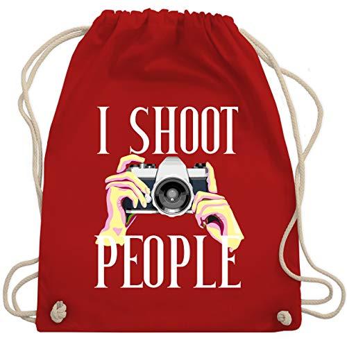 Shirtracer Fotografen - I shoot people - rosa - weiß - Unisize - Rot - Geschenk - WM110 - Turnbeutel und Stoffbeutel aus Baumwolle