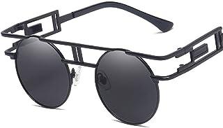 QWKLNRA - Gafas De Sol para Hombre Montura Negra Lente Negra Steampunk Gafas De Sol Redondas Vintage Hombres Mujeres Espejo Unisex Gafas De Sol De Metal Tonos Retro Uv400 Ciclismo Viajes Pesca Gafas D