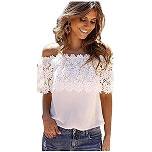 Xinan Blusen Damen Off Shoulder Top Schulterfrei Trägerlos Chiffon Locker Langarm T-Shirt Top (M, Weiß*)