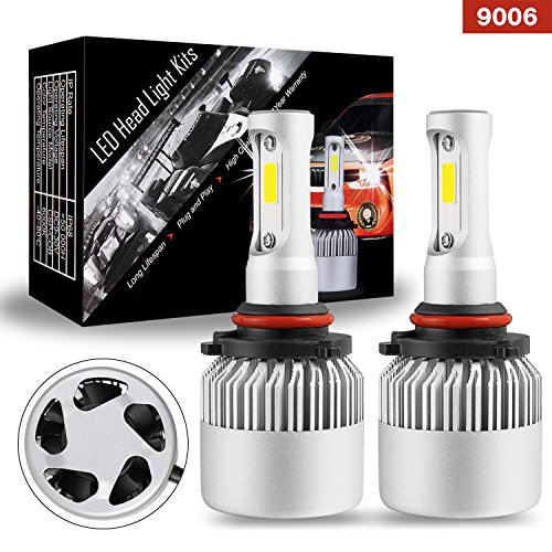 LED Bulbs, AKD Part 9006 LED Headlights Work Light Conversion Kit CREE Driving Light Automotive White Bright with 100W 10000 Lumens (1 pair) - 1 Year Warranty