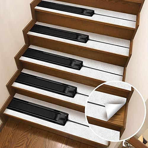 TNFUFP stickers voor trappen, 6 stks Piano Patroon 3d Trapsticker Waterdichte Verwijderbare Zelfklevende Muursticker Voor Keuken Home Decoratie Pvc Vinyl Art Decal 18 * 100cm