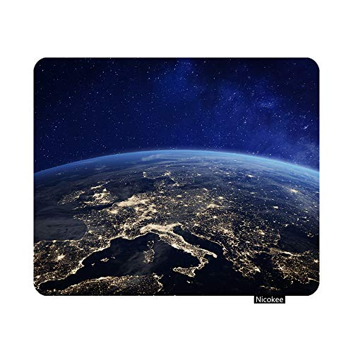 Nicokee Earth from Space Europe Gaming Mouse Pad EU UK Italy Spain Non-Slip Rubber Mouse Pad for Computers, Laptop, Office, Home Rectangle Personalized Mousepad 9.5 Inch x 7.9 Inch