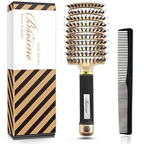 Hair Brush, Boar Bristle Hair Brush, Curved Vent Styling Hair Brushes for Women, Men, Professional Curved Vented Brush For Blow Drying, Paddle Detangling Brush for Wet Dry Curly Thick Straight Hair