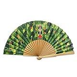 Designer Souvenirs - Abanico Diseño Frida Kahlo de tela y Varillas de Madera | Estampado moderno y Colorista | Regalo a Madres o Amigas | Ideal para Invitados de Boda, Fiestas | Colección Viva la Vida