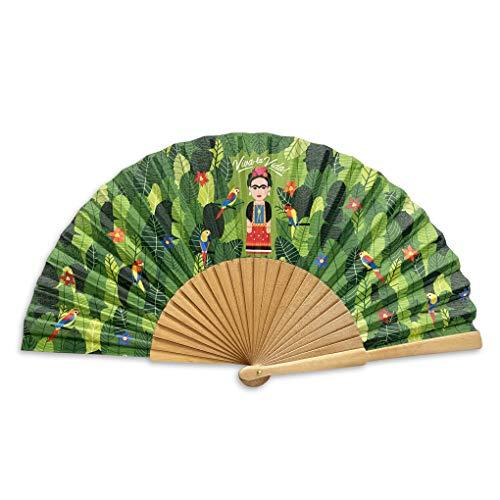Designer Souvenirs - Abanico Plegable con Varillas de Madera Color Verde Regalar a Madres, Abuelas o...