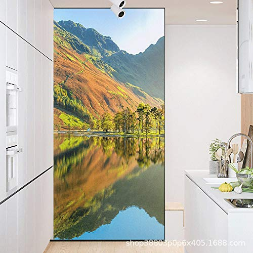 TFOOD Raamfolie, raamfolie, esthetisch bos, watergroen, landschap, privacy, statische cling matte sticker, ondoorzichtige glasdecor, zelfklevende uv-bescherming voor keuken, badkamer, woonkamer