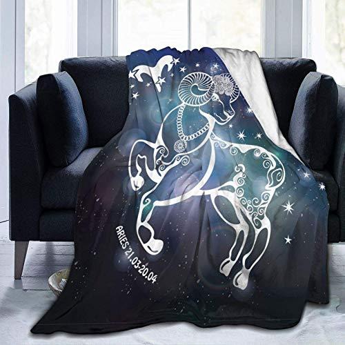 Manta De La Siesta Felpa Sofás Franela Galaxia Espacio Aries Zodiaco Buen sueño L127cm x W102cm