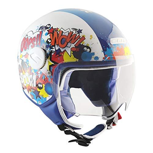 CGM Casco bambino junior demi jet visiera sagomata, 205G MAGIC COMICS, Blu Bianco, YXL (55-56cm)