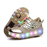 LuckyW LED Zapatillas de Skate con Ruedas Zapatillas Luminosas con Ruedas Deporte Gimnasia Multideporte Moda para niños y niñas Niños (dorado01-586 29)