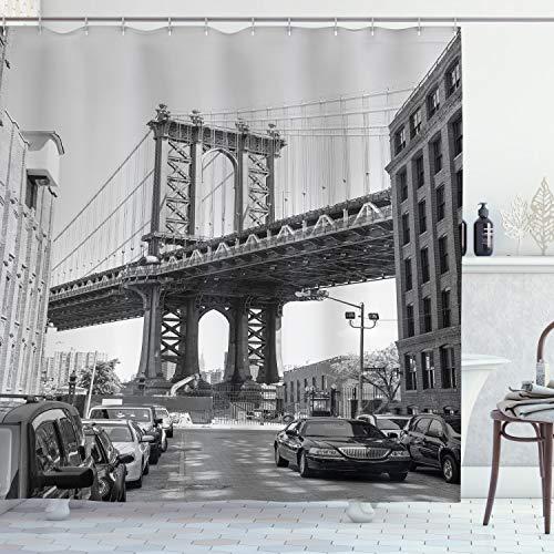 ABAKUHAUS Paisaje Cortina de Baño, Brooklyn, Nueva York, Material Resistente al Agua Durable Estampa Digital, 175 x 240 cm, Gris carbón Negro