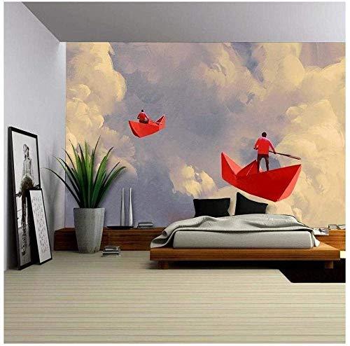Papel Tapiz Fotográfico 3D 400*280Cm Hombre Con Barco De Papel Rojo De Origami Flotando En El Cielo Nublado Pegatinas De Pared 3D Niños Dibujos Animados Niño Niña Dormitorio Decoración Póster Papel Ta