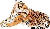 BRUBAKER Peluche de Tigre de 100 cm con Tigre Bebé - Peluche Para Madre e Hijo Acostado - Marrón
