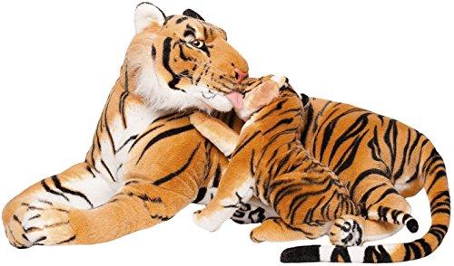 Brubaker 100 cm Tiger Kuscheltier mit Baby-Tiger - liegend Mutter Kind Stofftier Plüschtier - Braun
