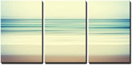 wall26 - 3 Piece Canvas Wall Art - an Abstract Ocean Seascape with Blurred Panning Motion - Modern Home Decor Stretched and Framed Ready to Hang - 16