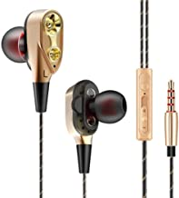 Exxelo Boom 4D in-Ear Dual Driver Wired Headphones with Mic for All Smartphones