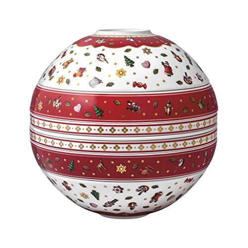 Villeroy & Boch - Toy's Delight La Boule, pezzo di design natalizio, porcellana Premium, lavabile in lavastoviglie, colorato, 24 x 24 cm