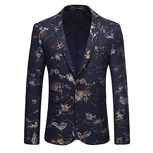 NuevoTraje deVestir de Boutique Informalpara Hombres/Chaqueta de Chaqueta de Chaqueta con Traje Floral Delgado de un botón para Hombres