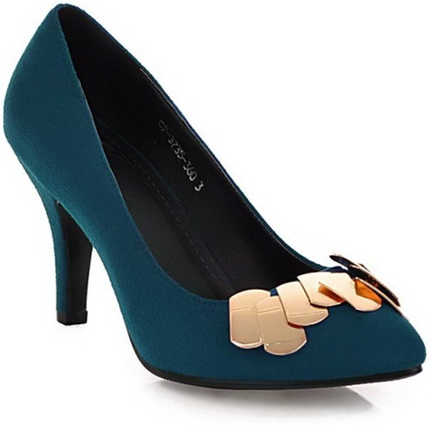 WeiPoot Womens Closed Po2015ted Toe High Heel Frosted PU Solid Pumps with Metalornament, bluee, 10 B(M) US