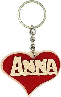 Portachiavi personalizzato in legno, fatto a mano con nome o data a forma di cuore, da indossare o per fare un regalo orig...