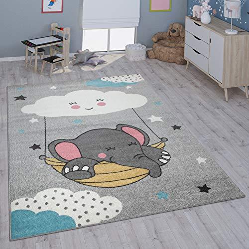 Paco Home Kinderteppich Teppich Kinderzimmer Mädchen Jungs Verschiedene Motive Und Größen, Grösse:133x190 cm, Farbe:Grau