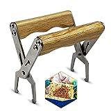 Levantador de panal Fabricado en acero inoxidable con mango de madera - Herramientas apicultor,Equipo apícola,herramienta de panal,Bee Hive Frame Grip Holder,Panal Marco Herramienta Agarre