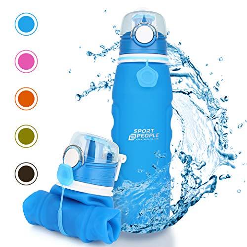 sport2people Silikon Faltbare Wasserflasche 1 L - Medizinische Qualität Aufrollen Trinkflasche, BPA Free - Sportsflasche mit Leck Sicherheitsventil für Reisen, Sport, Outdoor, Camping (Blue)