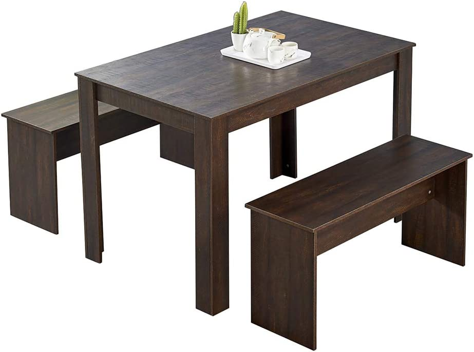 HomeSailing Wooden Los Angeles Mall Dining Table and 2 Safety and trust Pieces 3 Benches Kitch Set