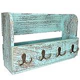Comfify Organizador de madera para correo de montaje en pared - Organizador rústico para pared - Porta revistas con 4...