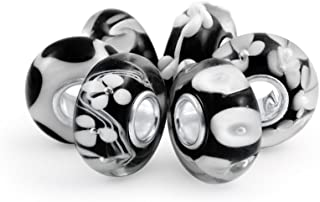 Mixed Set Of Bundle .925 Sterling Silver Core Translucent Shades Of White Black Floral Murano Glass Swirl Charm Bead Space...