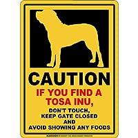 CAUTION IF YOU FIND マグネットサイン:土佐犬(スモール)イエロー 注意 DON'T TOUCH 触れない/触らない KEEP GATE CLOSED ドアを閉める 英語 防犯 アメリカンマグネットステッカー