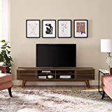 Modway Render 70' Mid-Century Modern Low Profile Media Console Entertainment TV Stand in Walnut Walnut