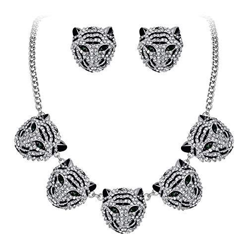EVER FAITH Damen Kristall Party Kostüm Statement Cool Tiger Kopf Tier Kragen Halskette Ohrstecker Schmuck Set