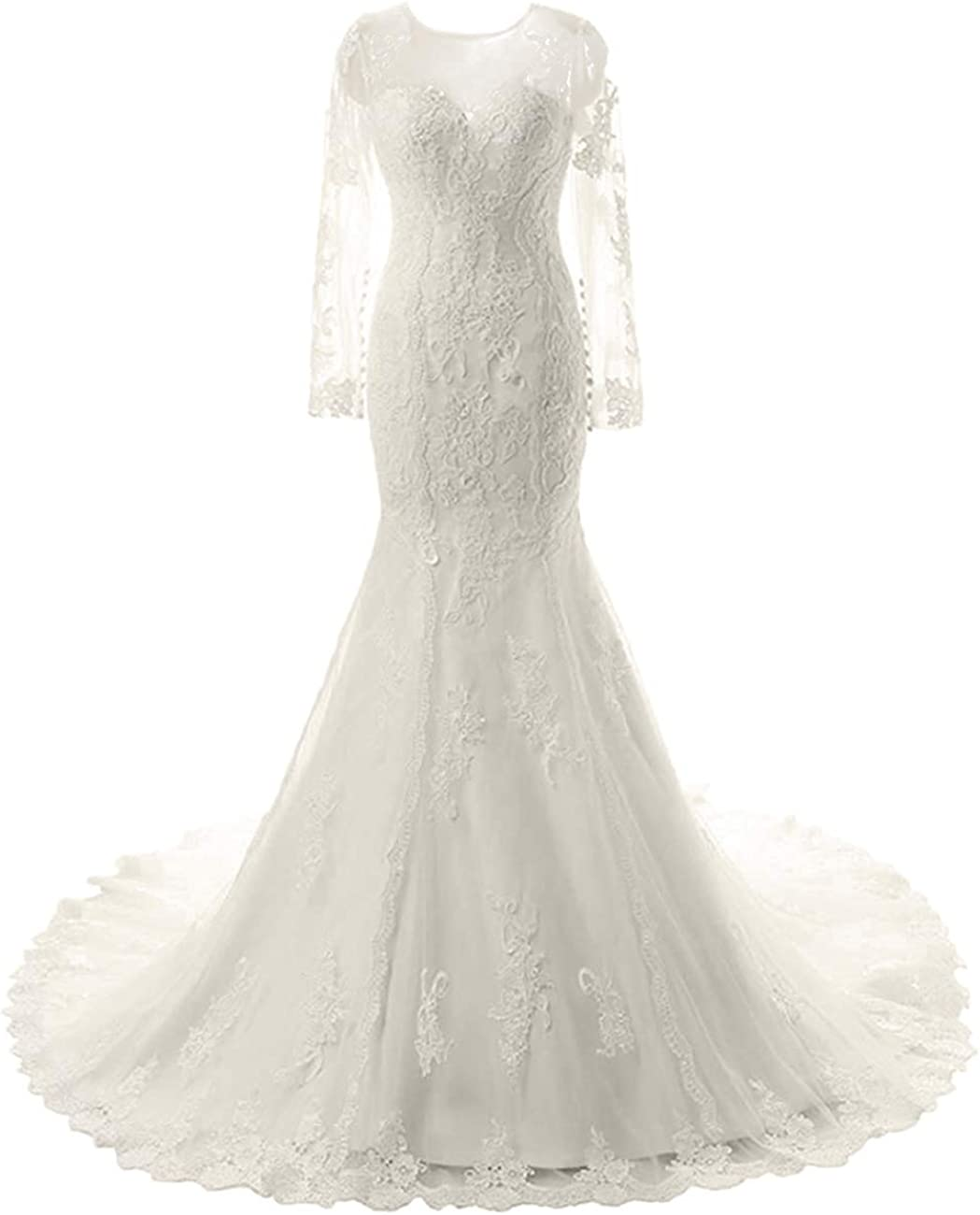 Wedding Dress Lace Bride Dresses Mermaid Bridal Gown with Long Sleeves