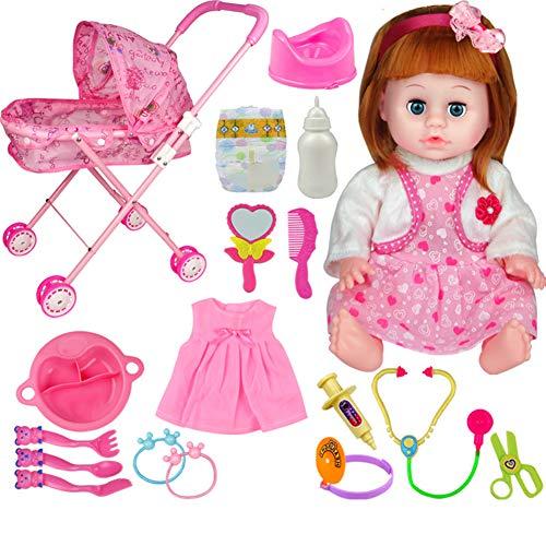 YUEBAOBEI Kinderwagen Kindergarten Spielzeug Set, Sprechen, Füttern, Urin, Babyspielzeug, Mini Kinder Klappwagen, Puppenpflegeset 19 Teile,R