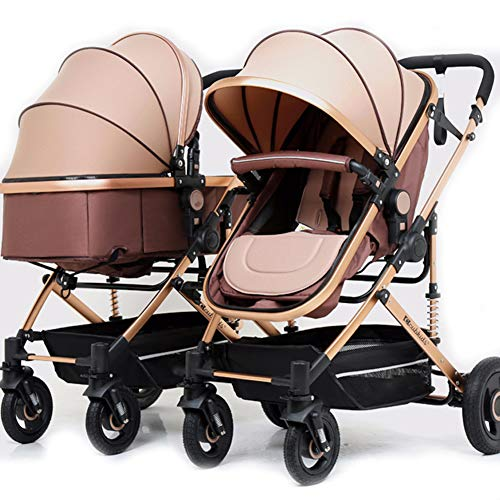 Duett 2 Tandem Double Pushchair, Twin Stroller, Pushchair Suitable From Birth, Lightweight, Compact Fold Double Buggy with 2 Raincovers Height-Adjustable Push Handle,3