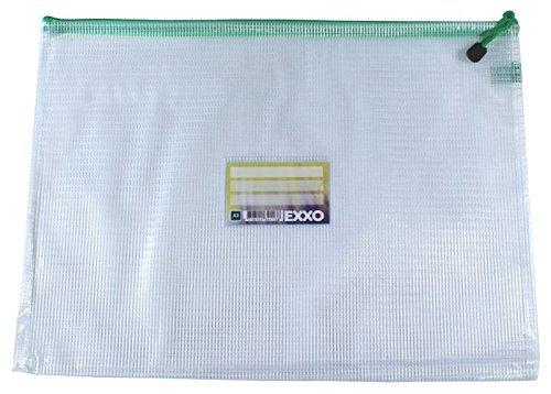 EXXO by HFP 34113 Kleinkrambeutel Mesh Bag Zipper-Beutel A3 mit Visitenkartentasche ZIPPER, 5 Stück mit grünem Reißverschluss