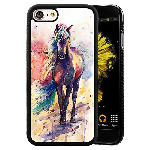 Case for iPhone SE 2nd 2020 Watercolor Horse,YangPN Phone Case,PC and TPU Black Protective Case