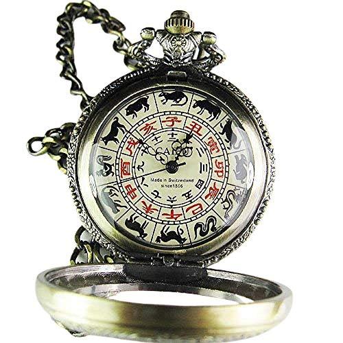 Rare Reloj de bolsillo mecánico antiguo del zodiaco chino
