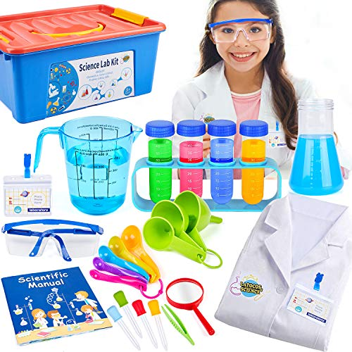 Kids Science Experiment Kit with Lab Coat Scientist Costume Dress Up Role Play Toys Set Birthday Gift for Girls Boys...